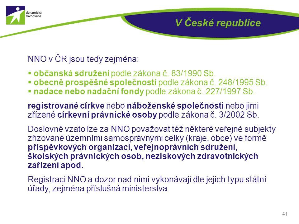 V České republice NNO v ČR jsou tedy zejména:
