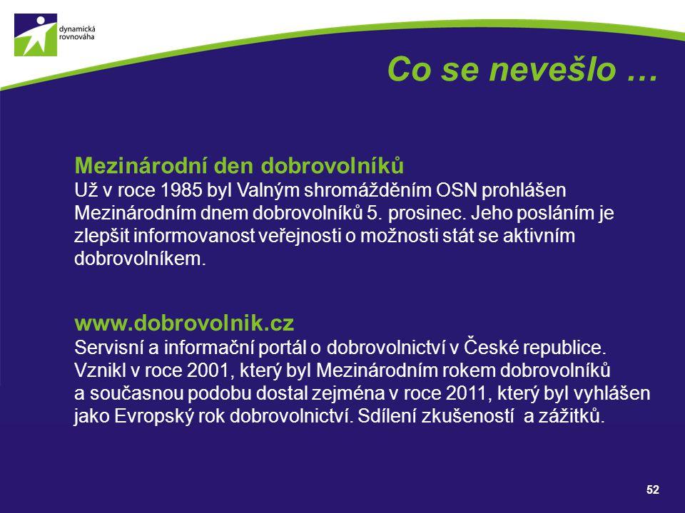 Co se nevešlo … Mezinárodní den dobrovolníků www.dobrovolnik.cz