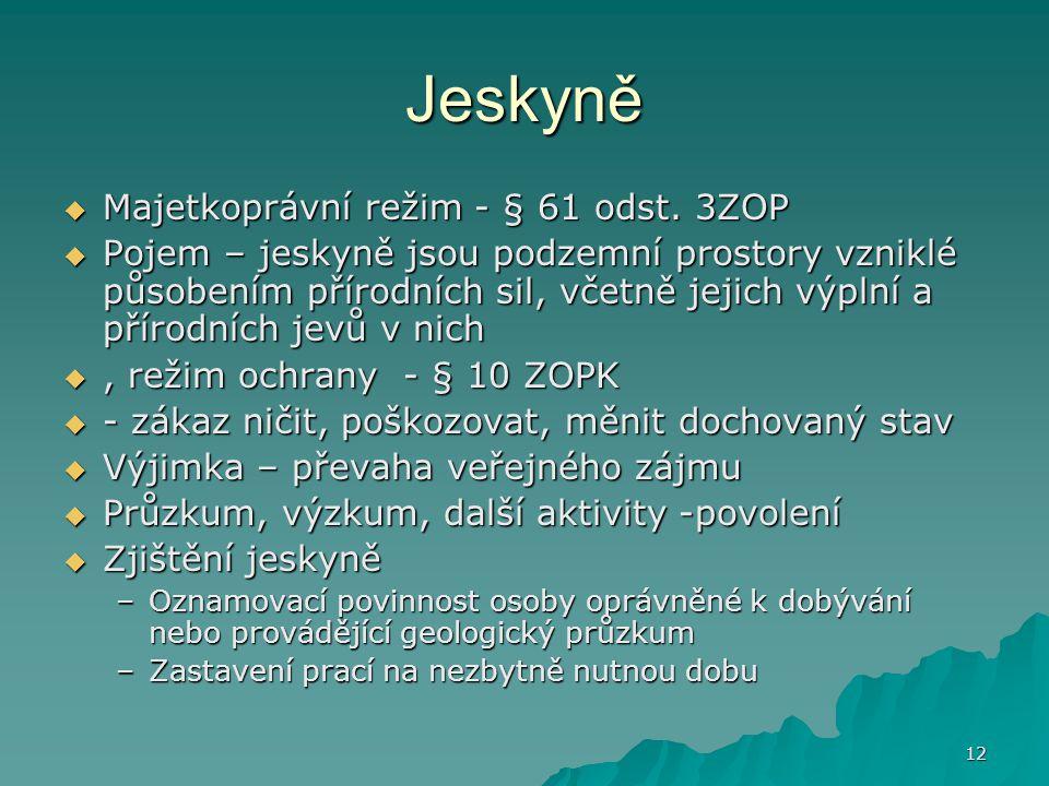 Jeskyně Majetkoprávní režim - § 61 odst. 3ZOP
