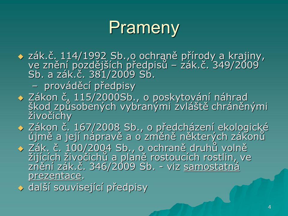 Prameny zák.č. 114/1992 Sb.,o ochraně přírody a krajiny, ve znění pozdějších předpisů – zák.č. 349/2009 Sb. a zák.č. 381/2009 Sb.