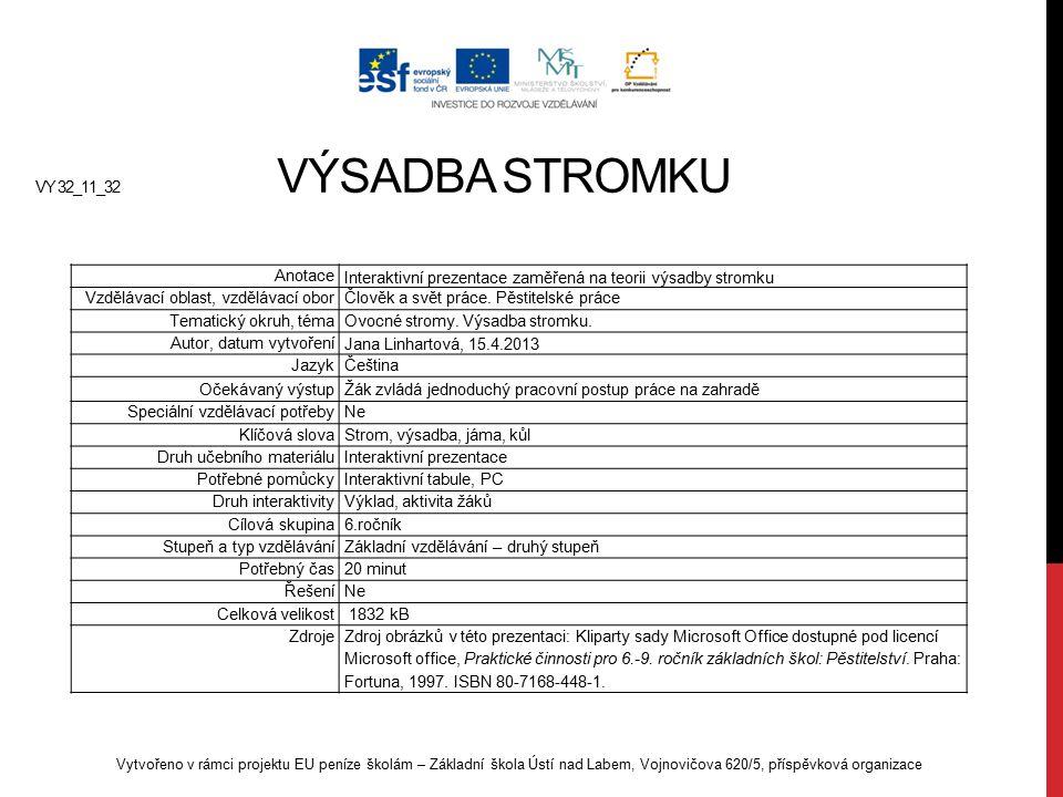 Interaktivní prezentace zaměřená na teorii výsadby stromku