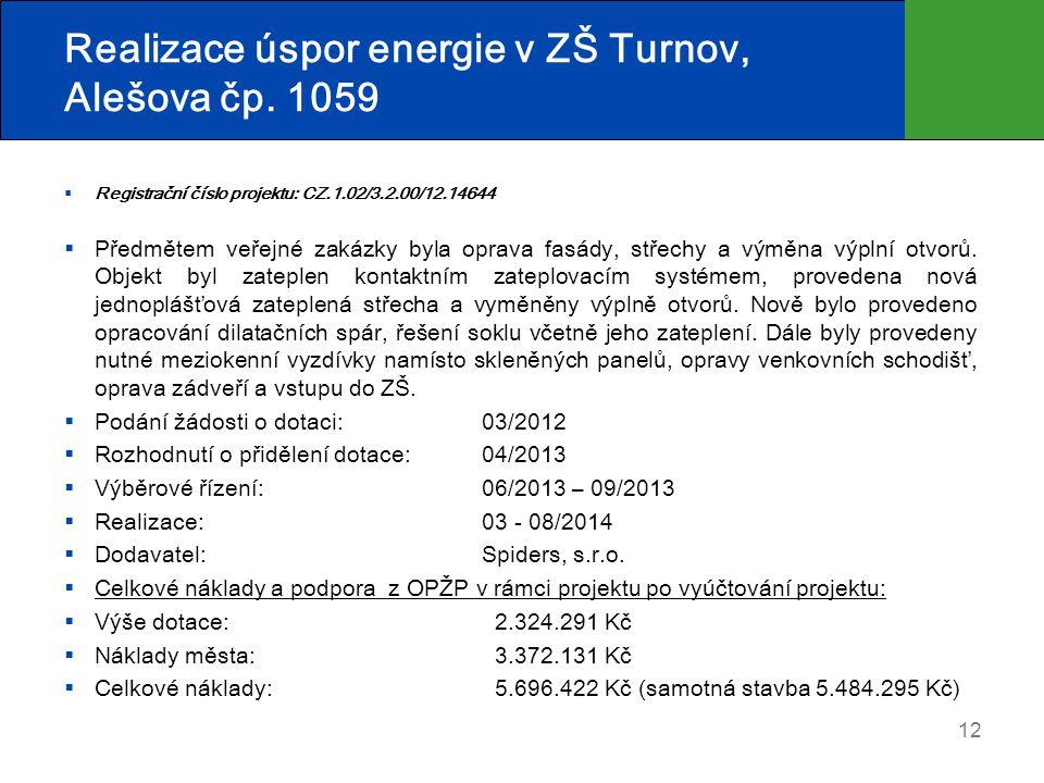 Realizace úspor energie v ZŠ Turnov, Alešova čp. 1059