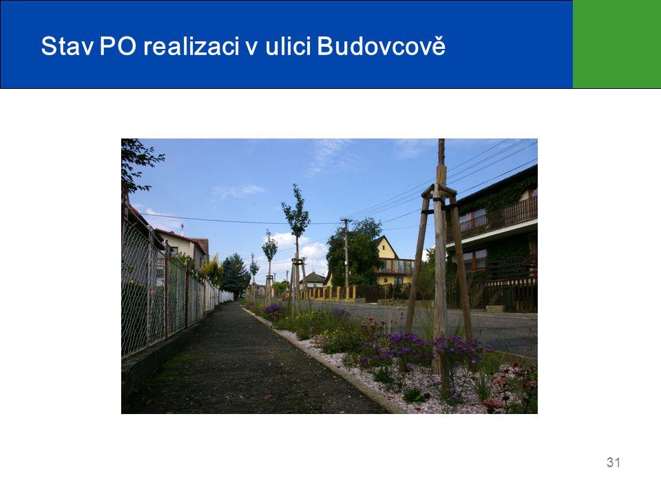 Stav PO realizaci v ulici Budovcově