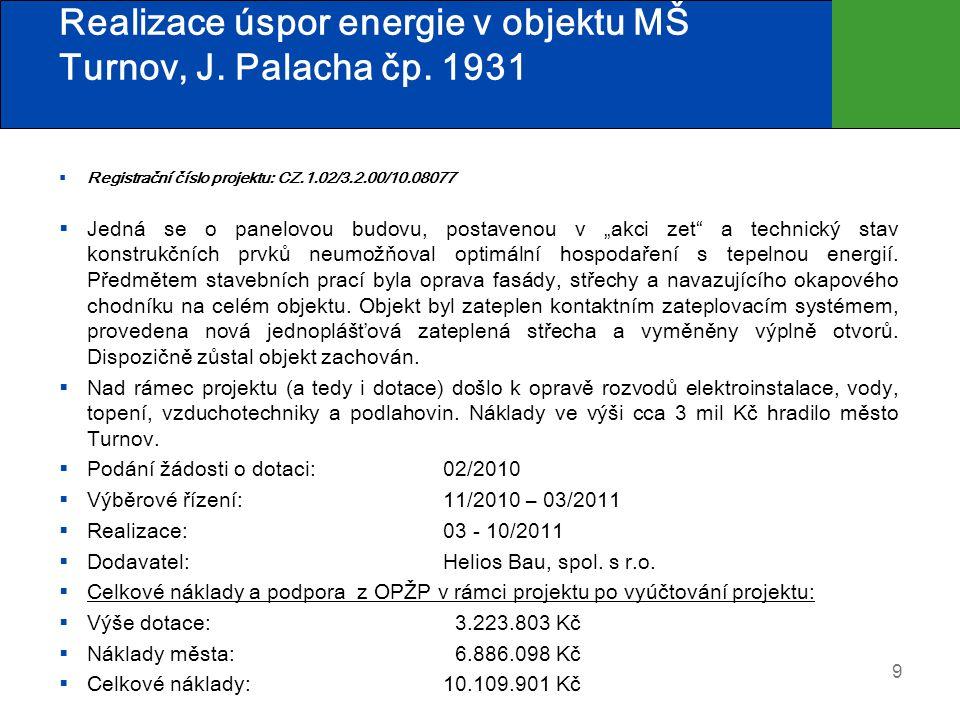 Realizace úspor energie v objektu MŠ Turnov, J. Palacha čp. 1931