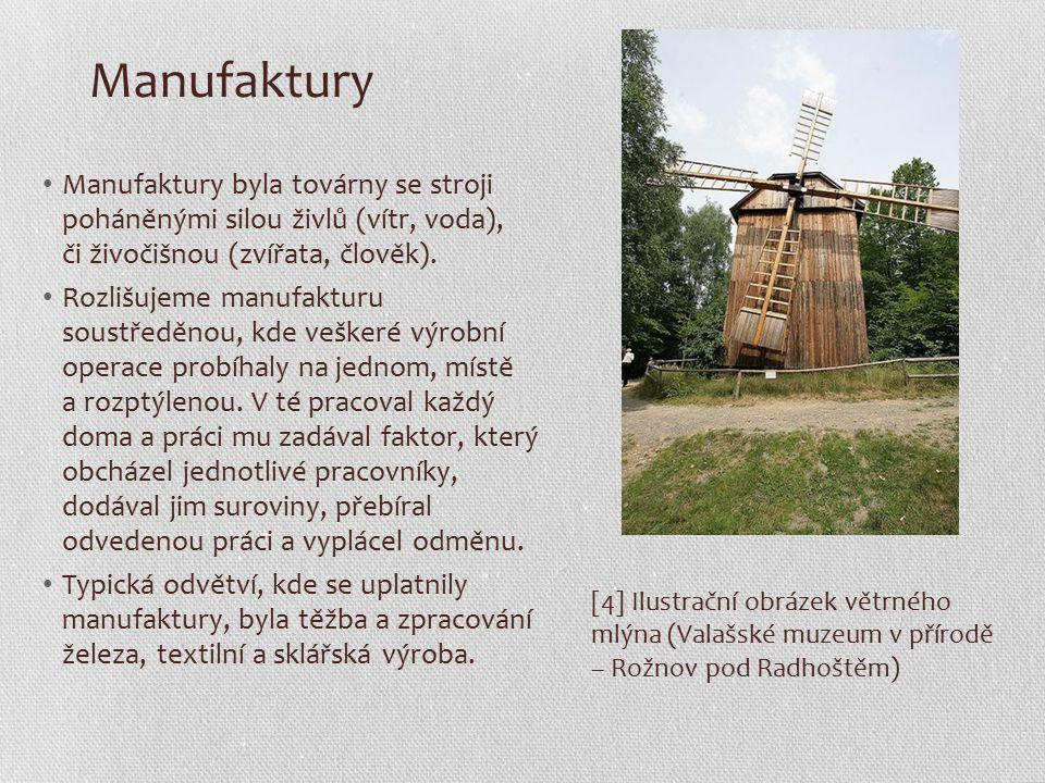 Manufaktury Manufaktury byla továrny se stroji poháněnými silou živlů (vítr, voda), či živočišnou (zvířata, člověk).
