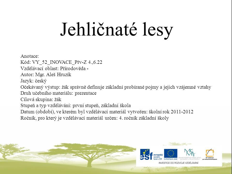 Jehličnaté lesy Anotace: Kód: VY_52_INOVACE_Přv-Z 4.,6.22
