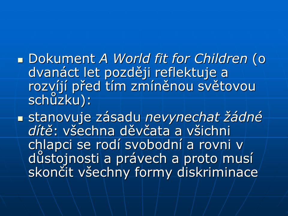 Dokument A World fit for Children (o dvanáct let později reflektuje a rozvíjí před tím zmíněnou světovou schůzku):