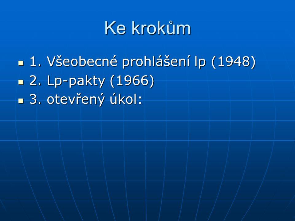 Ke krokům 1. Všeobecné prohlášení lp (1948) 2. Lp-pakty (1966)