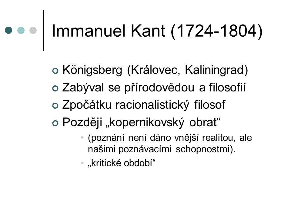 Immanuel Kant (1724-1804) Königsberg (Královec, Kaliningrad)