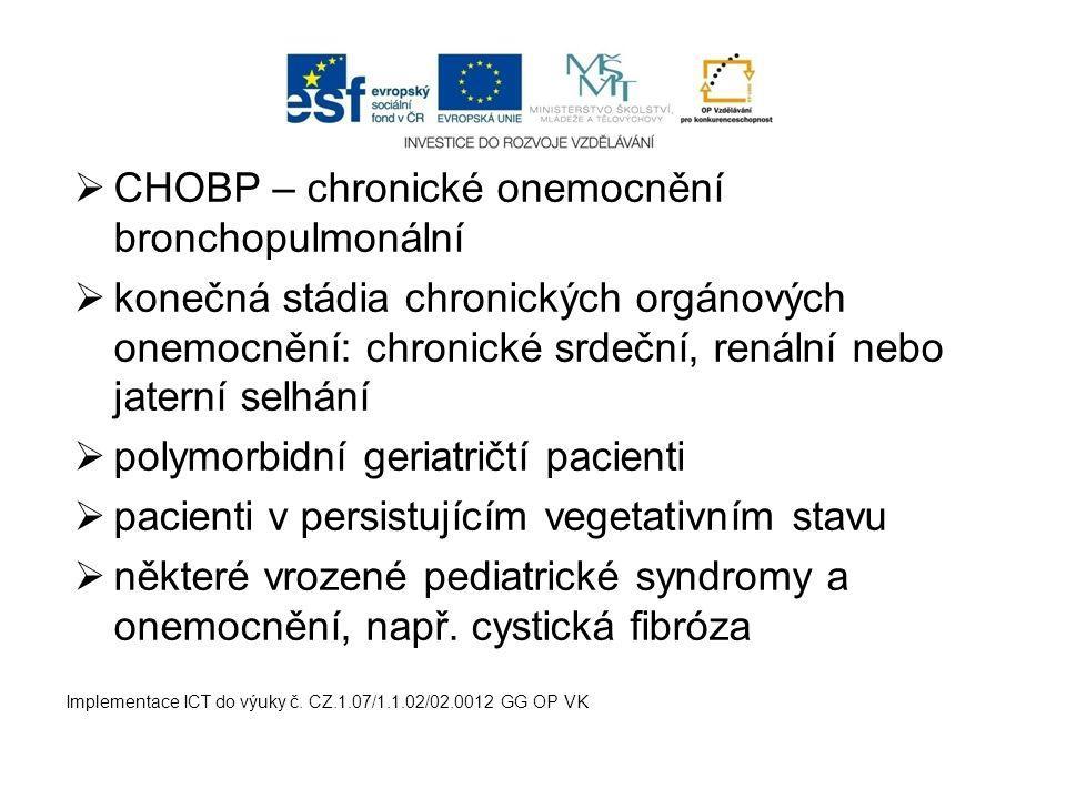CHOBP – chronické onemocnění bronchopulmonální