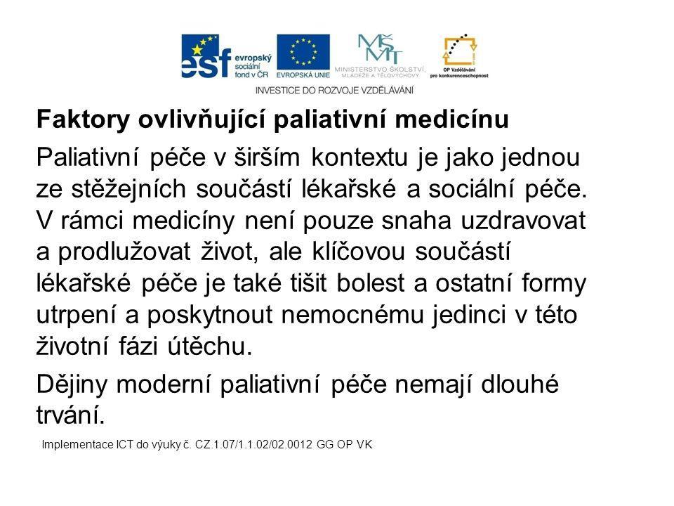 Faktory ovlivňující paliativní medicínu