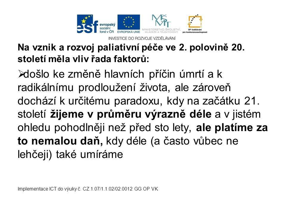 Na vznik a rozvoj paliativní péče ve 2. polovině 20