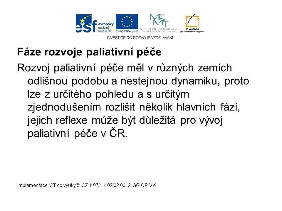 Fáze rozvoje paliativní péče