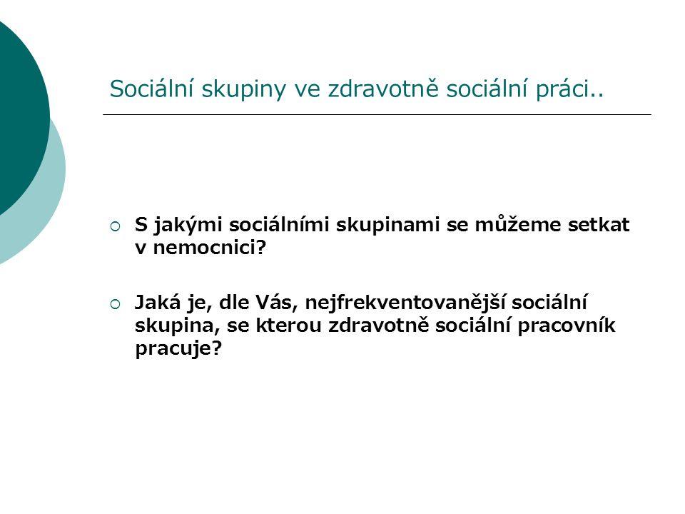 Sociální skupiny ve zdravotně sociální práci..