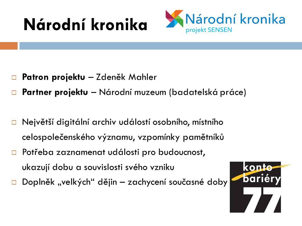 Národní kronika Patron projektu – Zdeněk Mahler