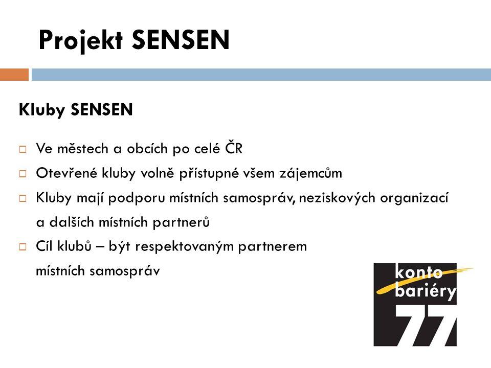 Projekt SENSEN Kluby SENSEN Ve městech a obcích po celé ČR