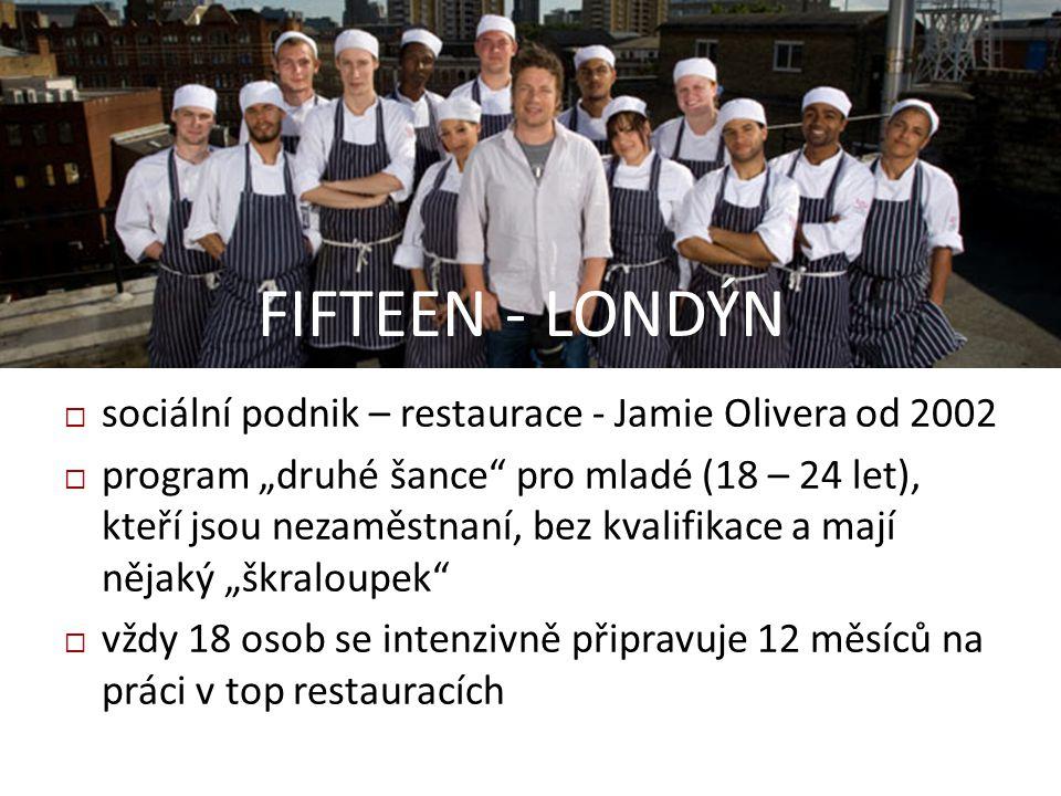 FIFTEEN - LONDÝN sociální podnik – restaurace - Jamie Olivera od 2002