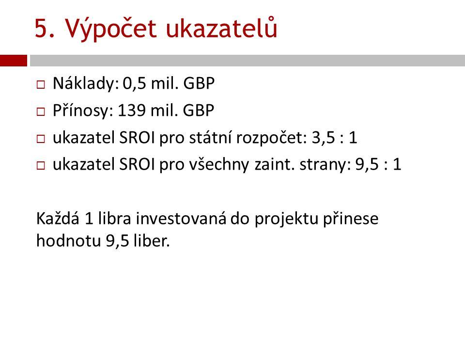 5. Výpočet ukazatelů Náklady: 0,5 mil. GBP Přínosy: 139 mil. GBP