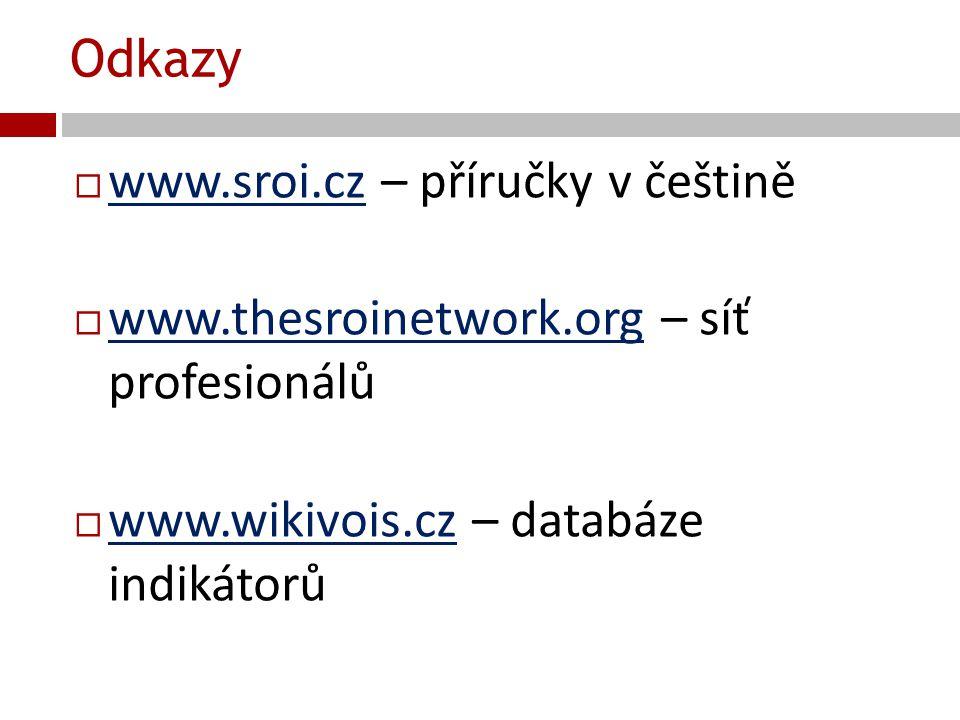 Odkazy www.sroi.cz – příručky v češtině. www.thesroinetwork.org – síť profesionálů.
