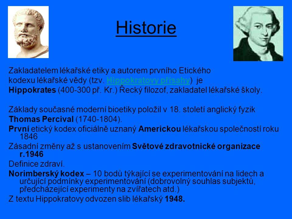 Historie Zakladatelem lékařské etiky a autorem prvního Etického