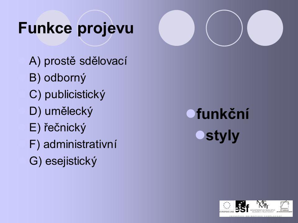 Funkce projevu funkční styly A) prostě sdělovací B) odborný