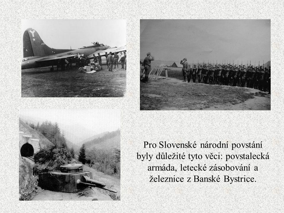 Pro Slovenské národní povstání byly důležité tyto věci: povstalecká armáda, letecké zásobování a železnice z Banské Bystrice.