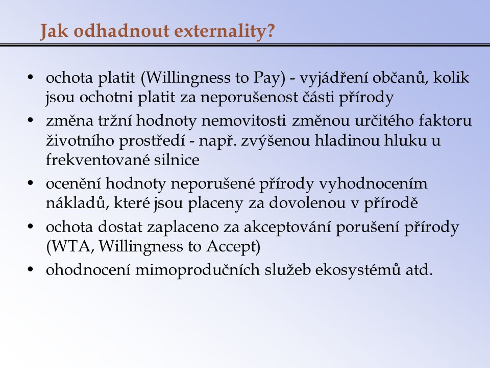 Jak odhadnout externality