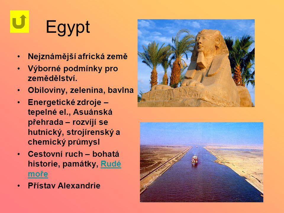 Egypt Nejznámější africká země Výborné podmínky pro zemědělství.