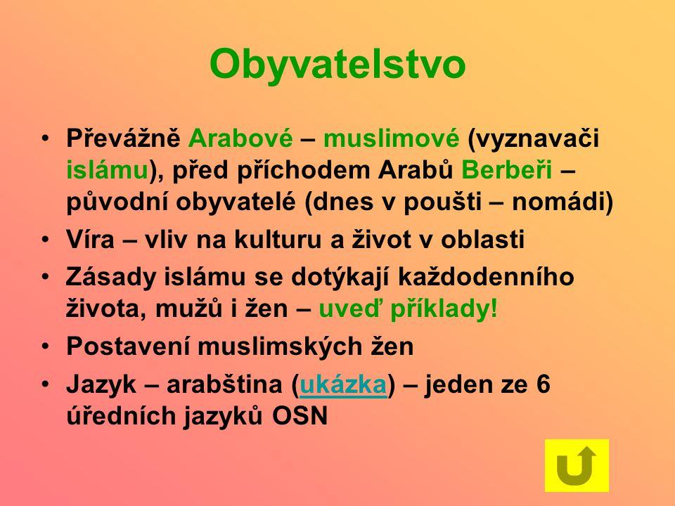 Obyvatelstvo Převážně Arabové – muslimové (vyznavači islámu), před příchodem Arabů Berbeři – původní obyvatelé (dnes v poušti – nomádi)