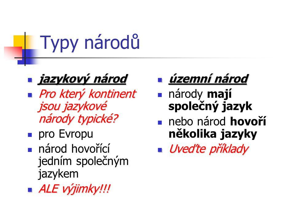Typy národů jazykový národ