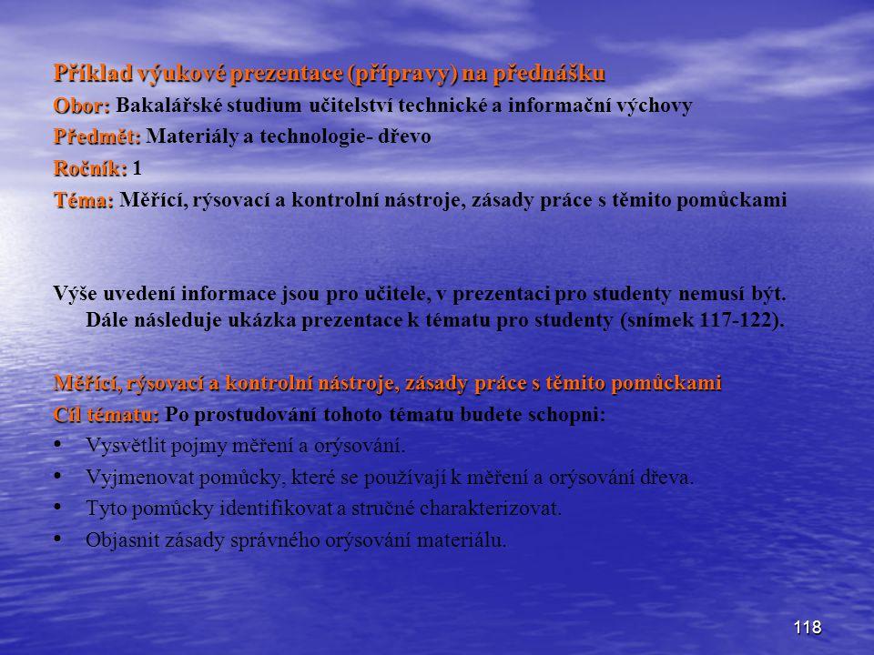 Příklad výukové prezentace (přípravy) na přednášku