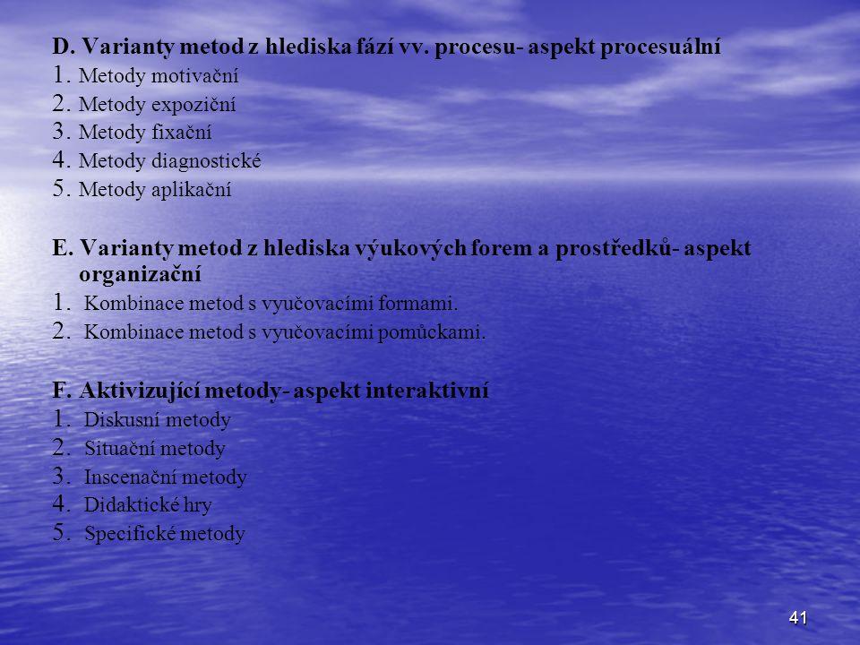 D. Varianty metod z hlediska fází vv. procesu- aspekt procesuální
