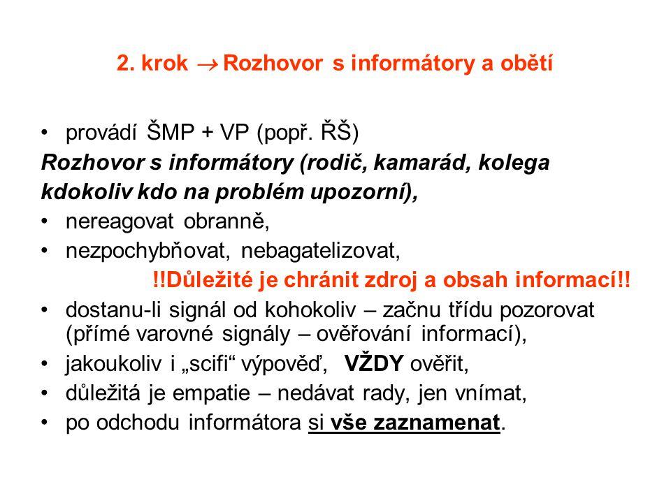2. krok  Rozhovor s informátory a obětí