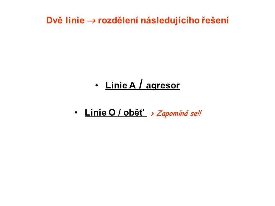 Dvě linie  rozdělení následujícího řešení