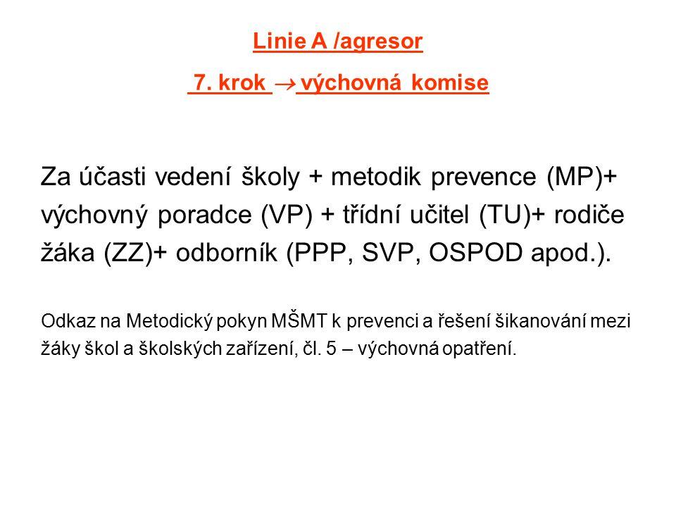 Linie A /agresor 7. krok  výchovná komise