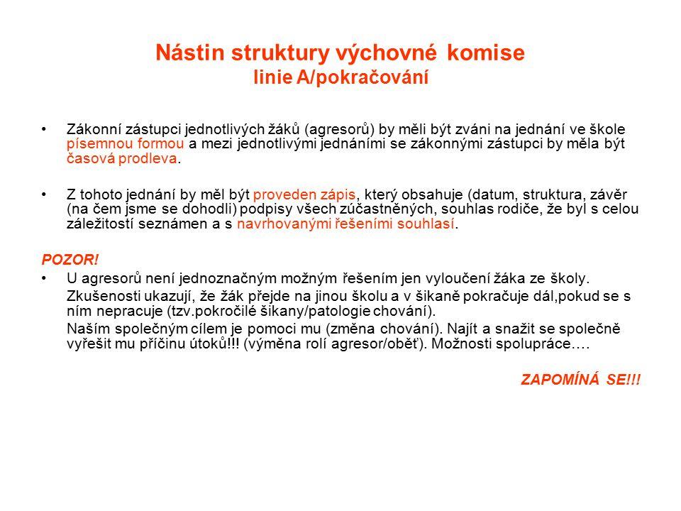Nástin struktury výchovné komise linie A/pokračování