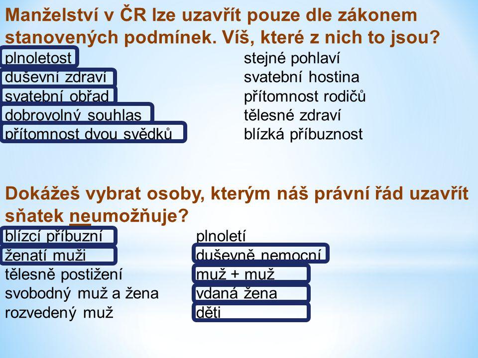 Manželství v ČR lze uzavřít pouze dle zákonem