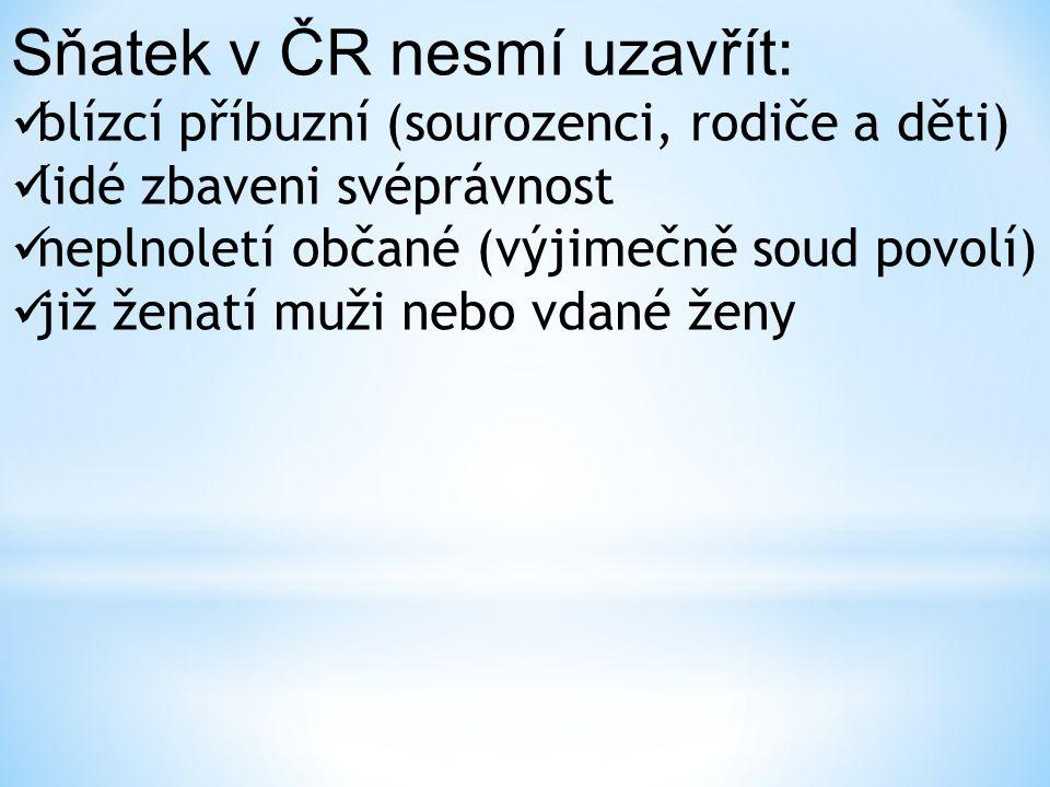 Sňatek v ČR nesmí uzavřít: