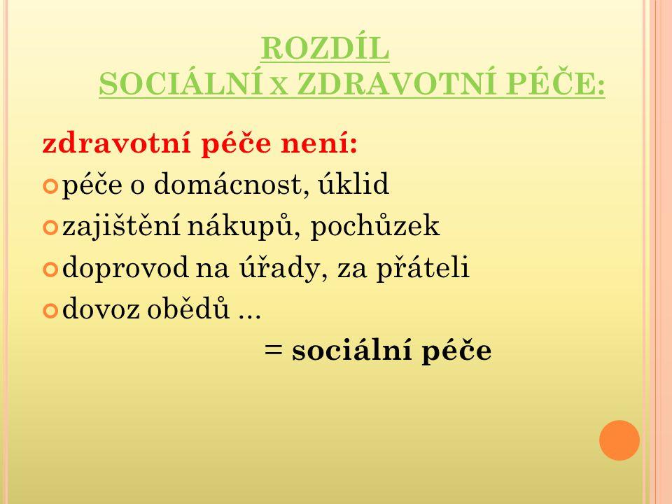 ROZDÍL SOCIÁLNÍ x ZDRAVOTNÍ PÉČE: