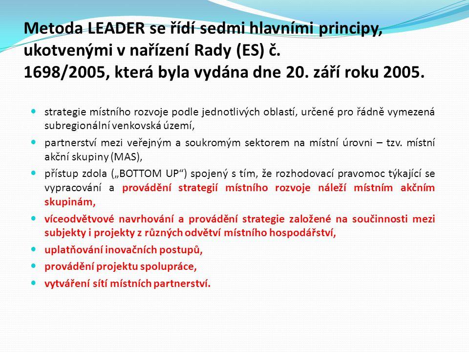 Metoda LEADER se řídí sedmi hlavními principy, ukotvenými v nařízení Rady (ES) č. 1698/2005, která byla vydána dne 20. září roku 2005.