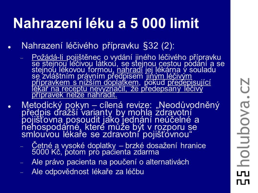 Nahrazení léku a 5 000 limit Nahrazení léčivého přípravku §32 (2):