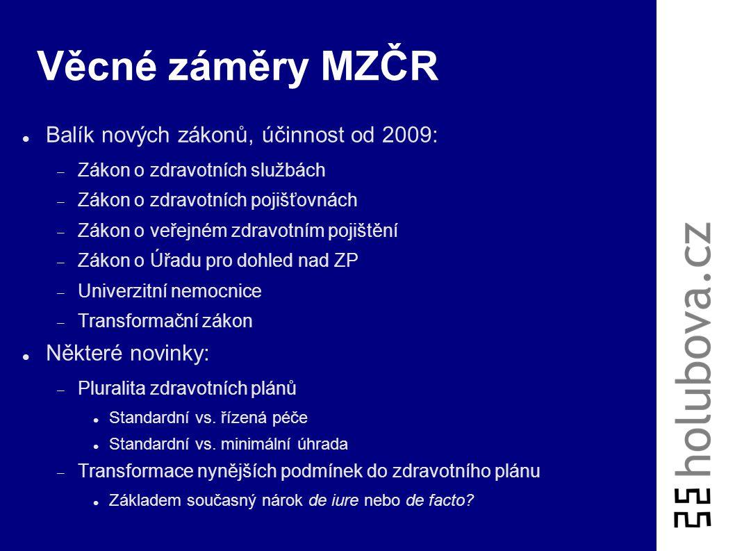 Věcné záměry MZČR Balík nových zákonů, účinnost od 2009: