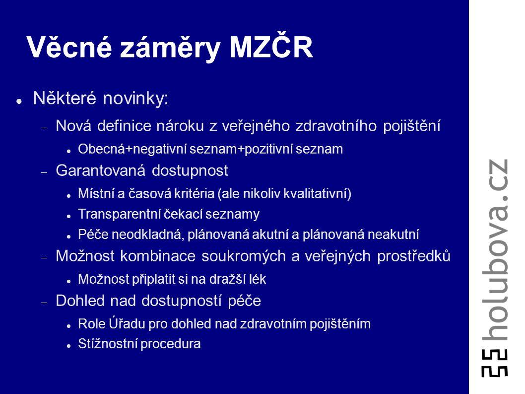 Věcné záměry MZČR Některé novinky: