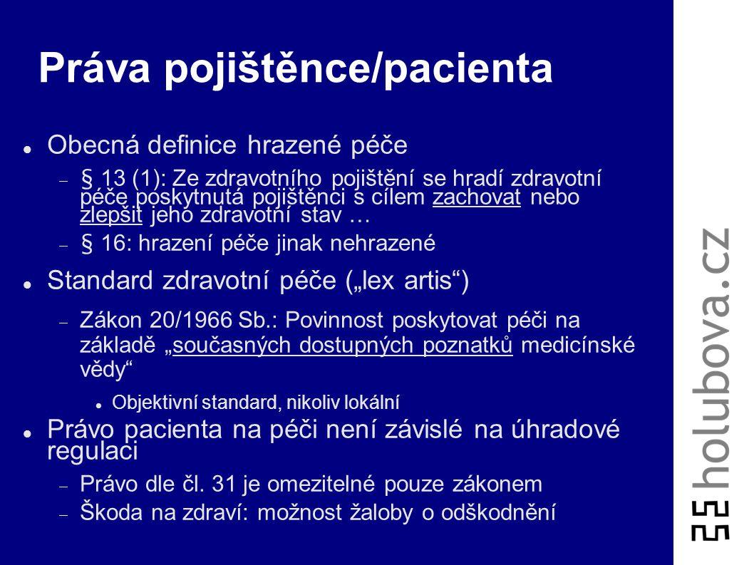 Práva pojištěnce/pacienta