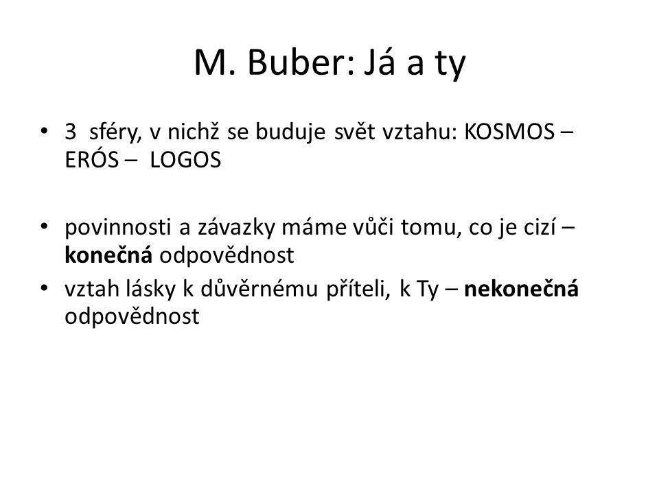 M. Buber: Já a ty 3 sféry, v nichž se buduje svět vztahu: KOSMOS – ERÓS – LOGOS.