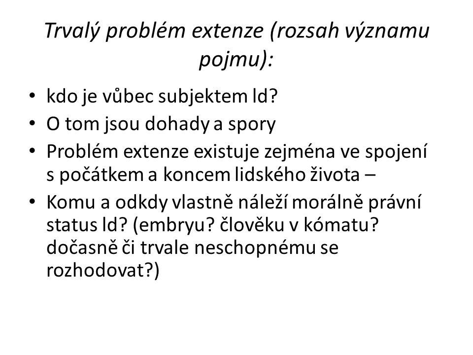Trvalý problém extenze (rozsah významu pojmu):