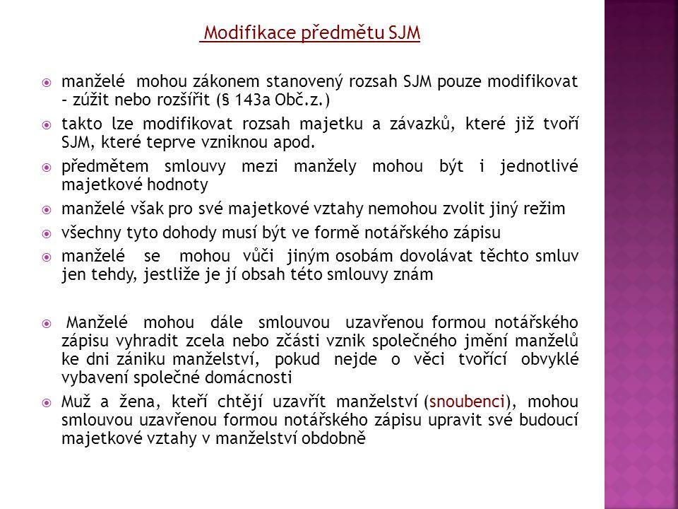 Modifikace předmětu SJM