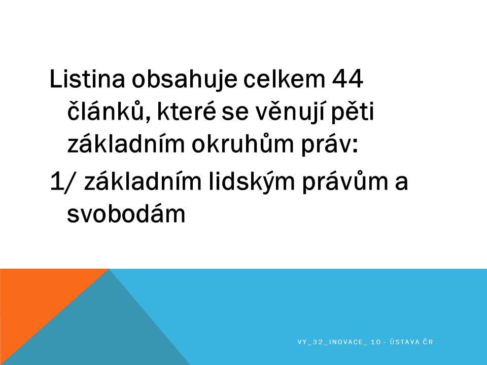 Listina obsahuje celkem 44 článků, které se věnují pěti základním okruhům práv: 1/ základním lidským právům a svobodám