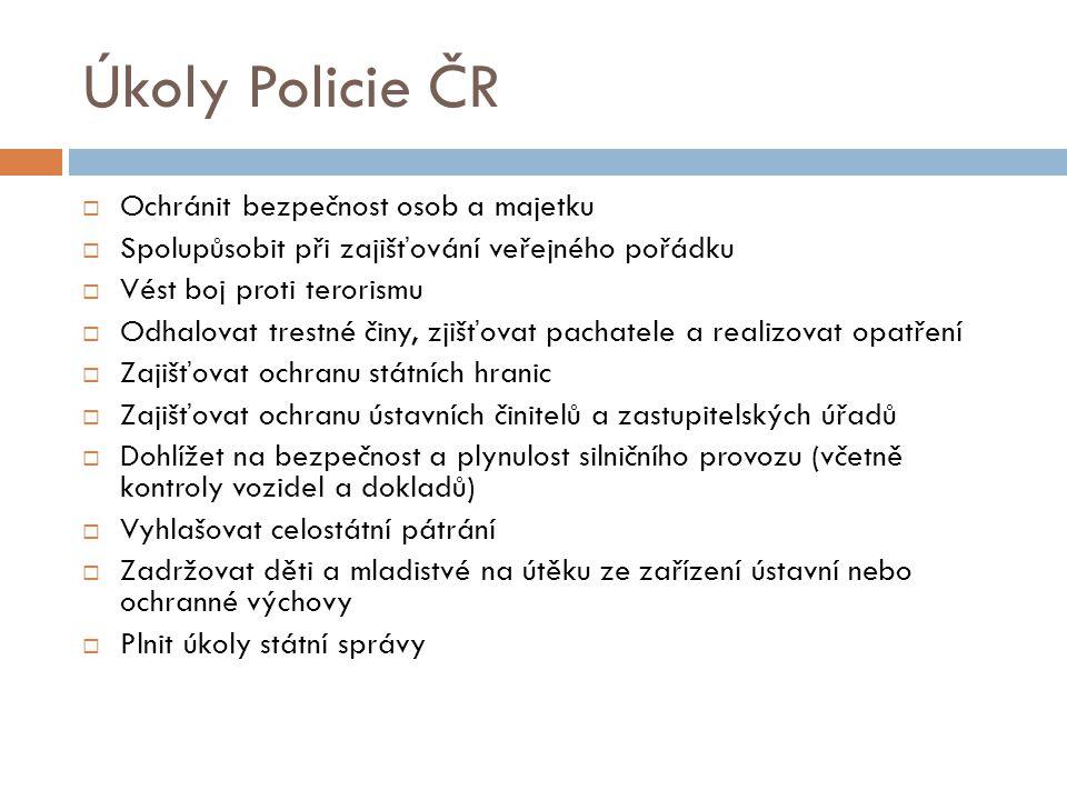 Úkoly Policie ČR Ochránit bezpečnost osob a majetku