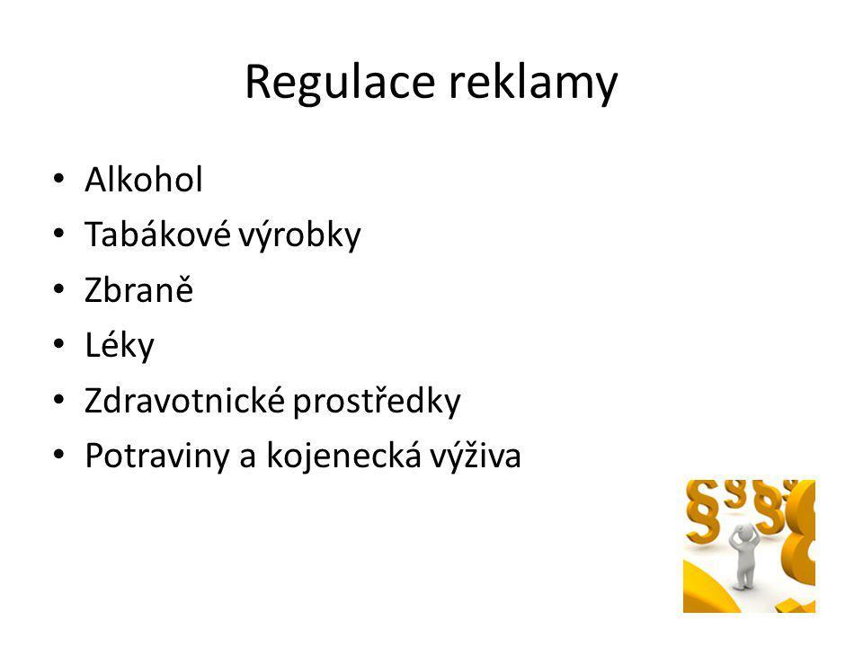 Regulace reklamy Alkohol Tabákové výrobky Zbraně Léky